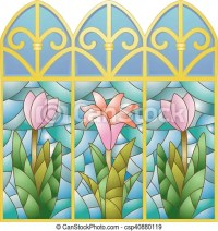 Stained glass floral window. Illustration of stained glass ...
