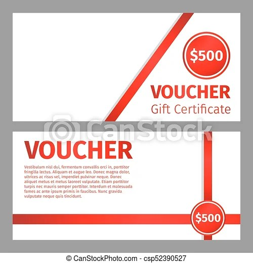 Voucher certificate blank template red ribbons and white vector - blank voucher
