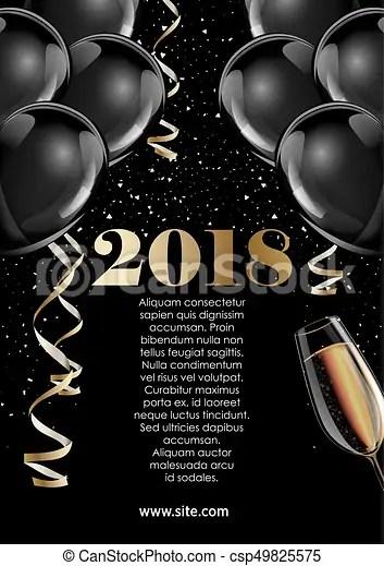 Cão, saudação, feriados, celebrando, desenho, 2018, ano, novo