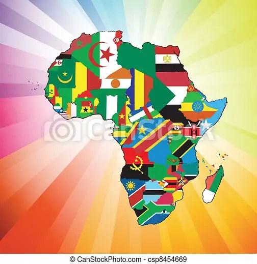 Mapa, bandeira, continente, africano Sobre, cotinent, rios, visível