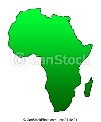 Mapa, continente, africano Mapa, isolado, experiência, africano