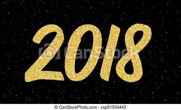 Saudação, 2018, ano, novo, caligrafia, cartão Ilustração, eps