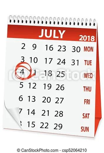 4, calendario, julio, 2018, icono Forma, día, 4, julio, icono
