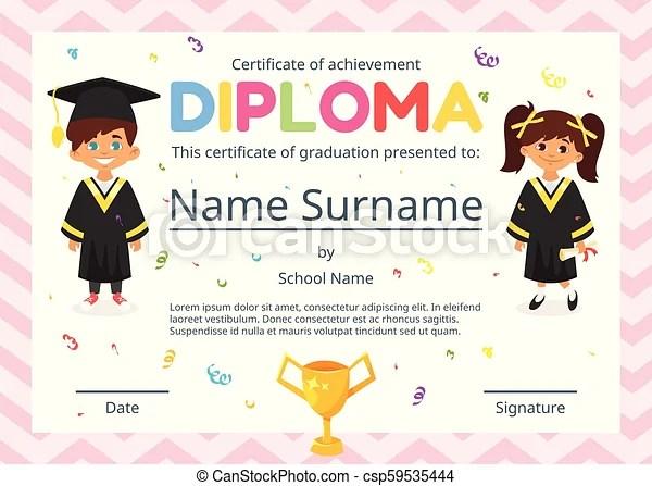 Certificado, niños, diploma, preescolar Preschool, estilo, niños