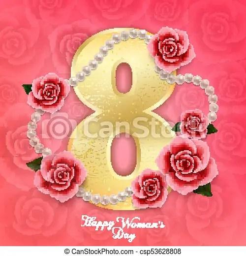 Rosa, marzo, perlas, mujer, rosas, 8, corazones, día, feliz Rosa - rosas y corazones