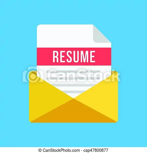 Envelope with resume letter email and document with resume title
