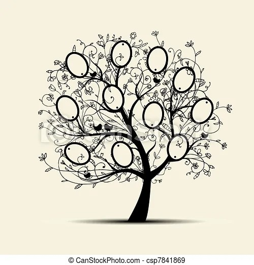 Family tree design, insert your photos into frames eps vectors
