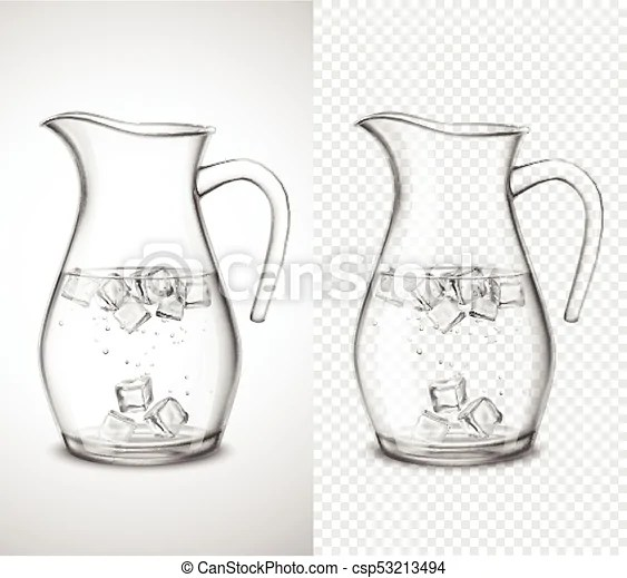 Glass jug with water and ice Glass jug with water ice cubes eps