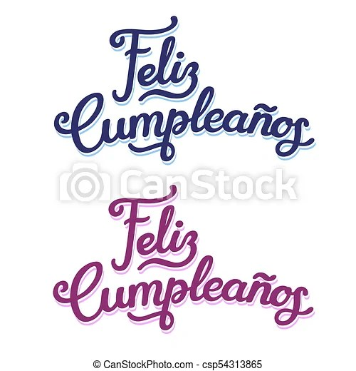 Spanish happy birthday lettering design Feliz cumpleanos, happy