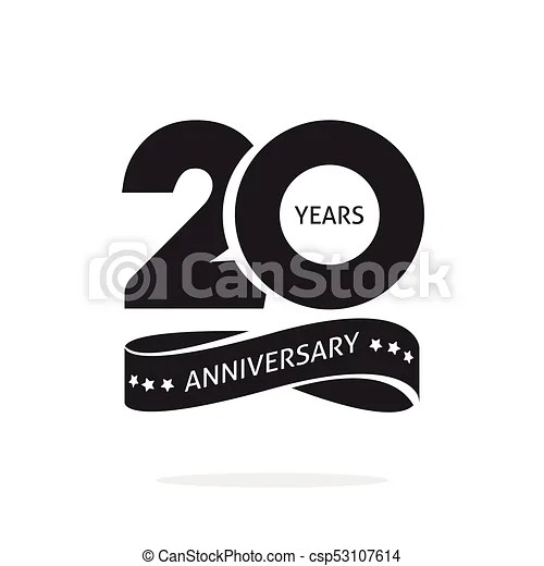 20 years anniversary logo template isolated, black and white stamp - text logo template