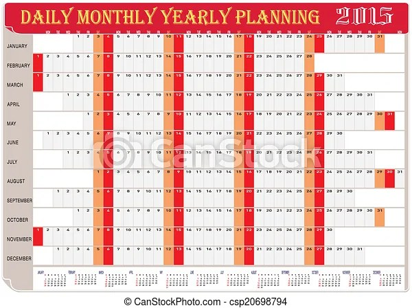 2015 daily monthly yearly planning Vector of planning chart of - daily monthly planners