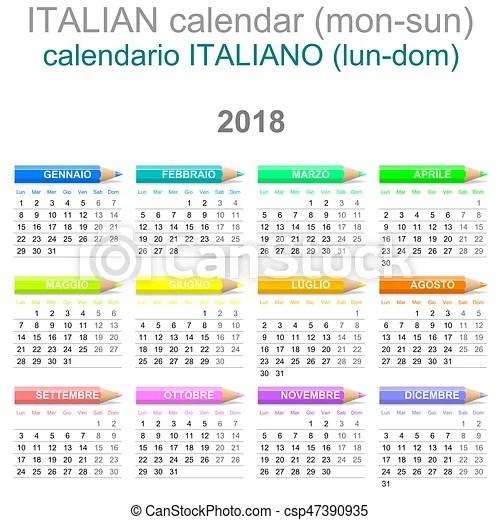 2018 crayons calendar italian version monday to sunday Colorful