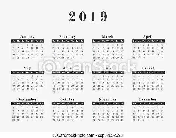 2019 year calendar horizontal design Calendar for year 2019 vector