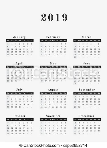 2019 year calendar vertical design Calendar for year 2019 vector