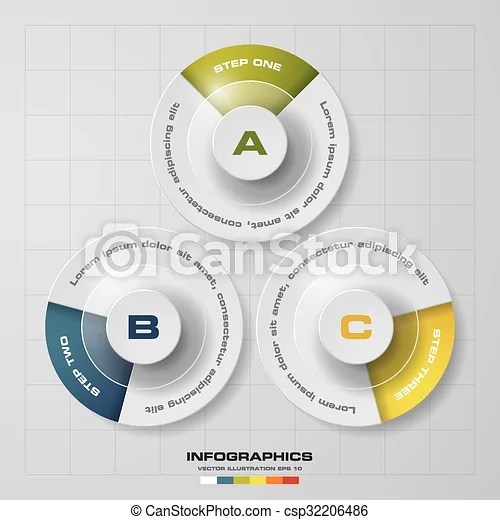 Simpleeditable 3 steps chart diagrams template/graphic or website - diagrams template