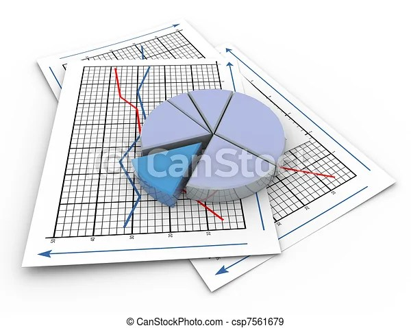 Stock Illustration of 3d pie chart on graph paper - 3d render of - 3d graph paper