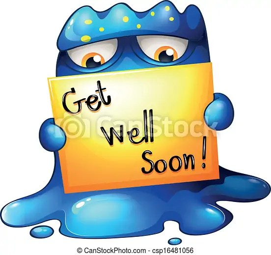 Illustration of a blue monster holding a get-well-soon card - get well soon card