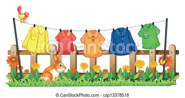 A Garden With Hanging Clothes And A Bunny Illustration Of