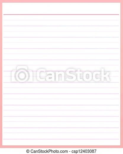 A sheet of pink color lined paper  A sheet of blank pink stock