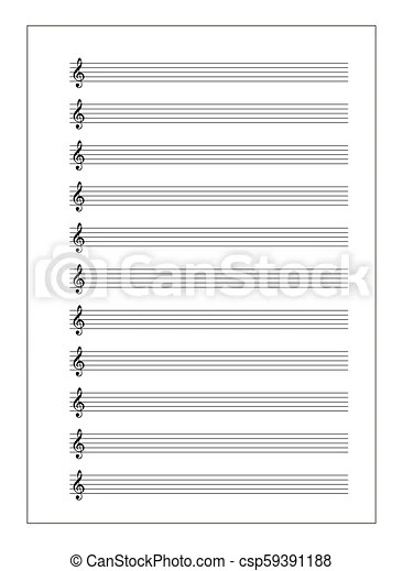 A4 music sheet with note stave with treble clef on white A4 music