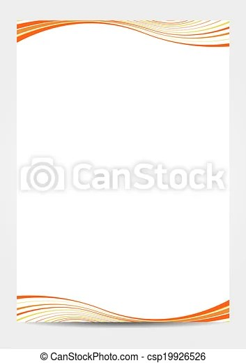 A4 paper template with orange waves Isolated template of paper with