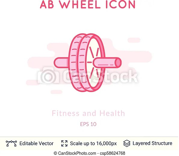 Ab wheel icon isolated on white Sports equipment vector logo