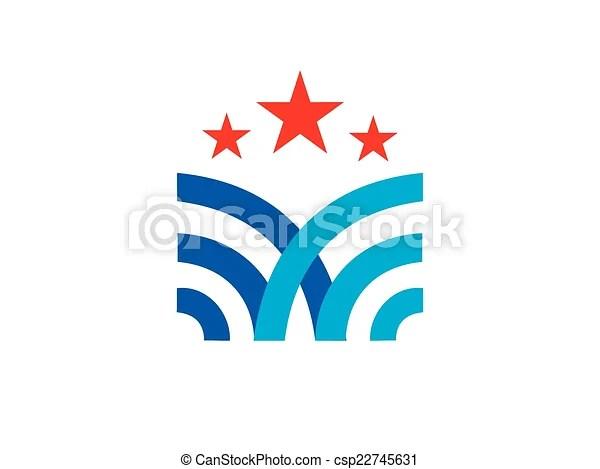 Abstract emblem star vector logo