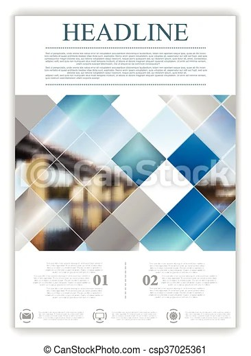 Abstract geometric flyer template layout with bridge landscape