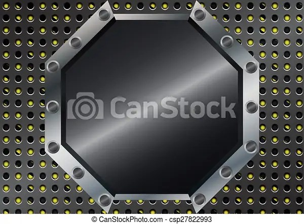 Abstract hexagon metal with metal grid on yellow and black stripes