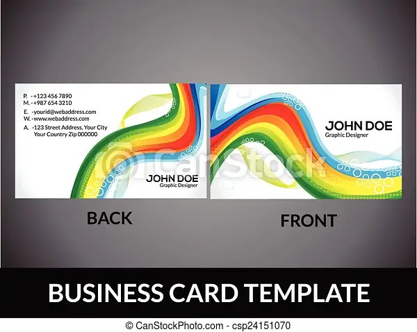 Abstract rainbow business card template vector illustration
