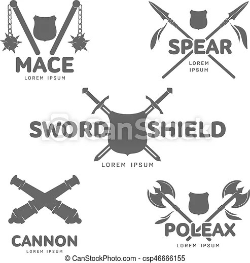 Abstract vector smedieval guns label Abstract vector medieval guns
