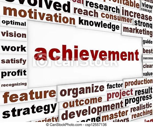 Achievement conceptual poster design management strategy creative - words for achievement