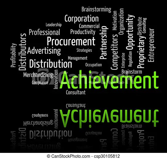 Achievement word represents attainment words and victory - words for achievement