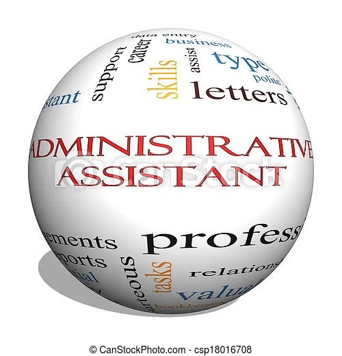 Administrative assistant 3d sphere word cloud concept with great