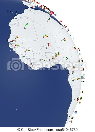 Africa continent africa side map with countries flags Planet earth