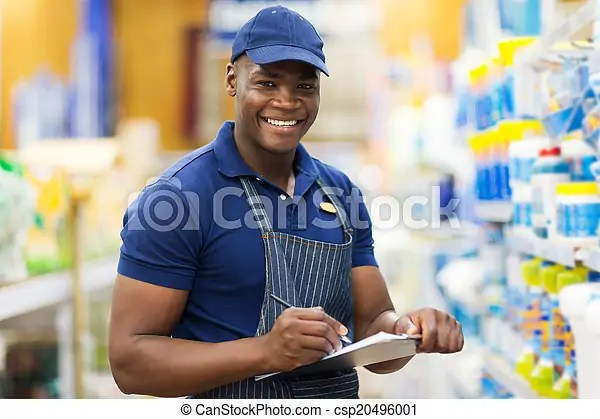 African shop assistant check stock Happy african shop assistant - shop assistan