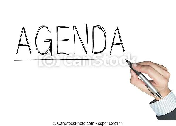 Agenda written by hand, hand writing on transparent board - agenda writing