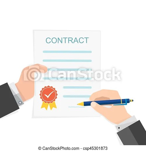 Agreement concept - hand signing of contract vector illustration