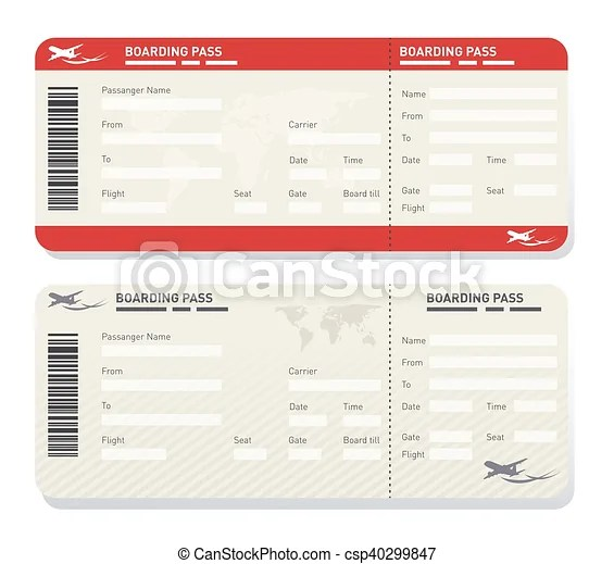 Airline ticket template Illustration of two different airplane