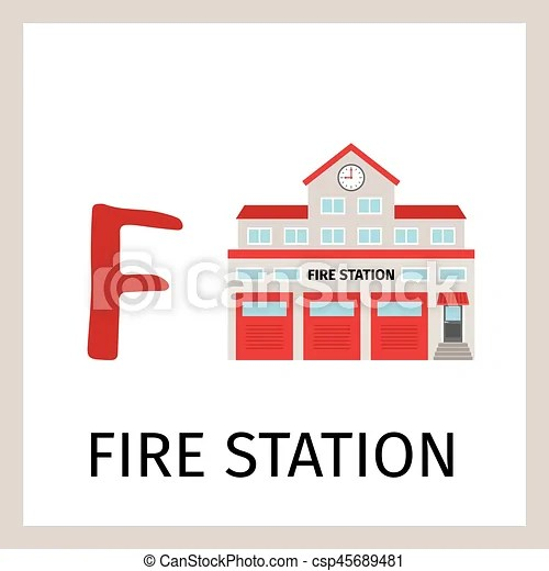 Alphabet card with fire station building Alphabet card for kids