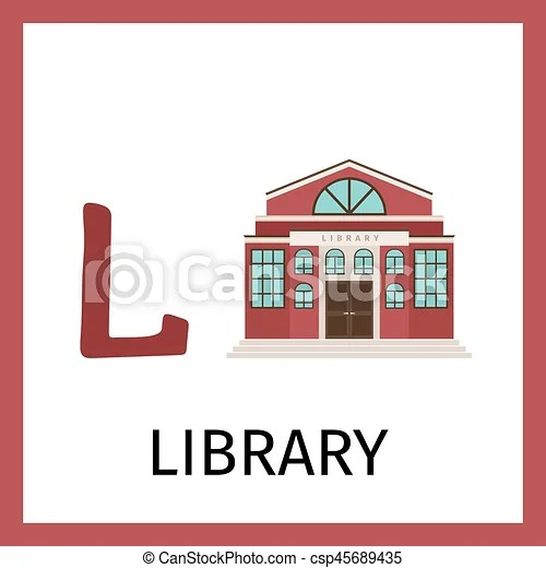 Alphabet card with library building Alphabet card for kids with - alphabet card