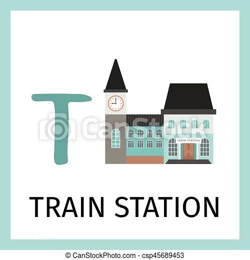 Alphabet card with train station building Alphabet card for kids