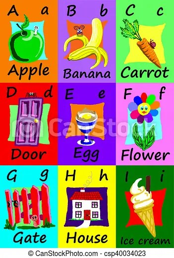 Alphabet flash cards a-i naive illustrations Alphabet flash cards