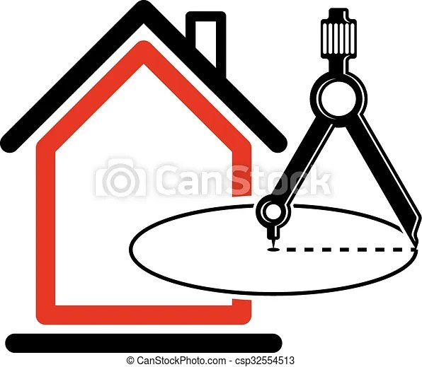 Architectural design conceptual vector symbol, simple house icon