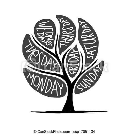 Art tree design with 7petal days of week