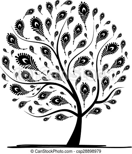 Art tree with peacock feather for your design vector vectors