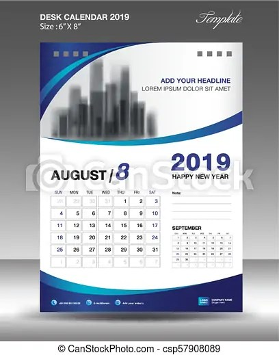 August desk calendar 2019 template flyer design vector