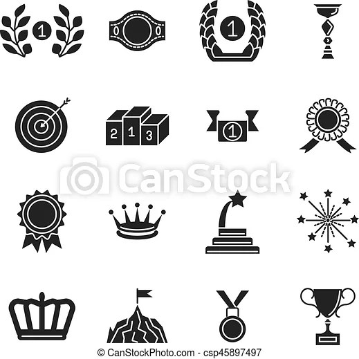 Award icons Black vector competition awarding and achievement silhouette  icon set isolated on white background