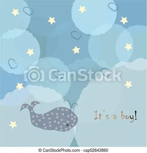 Baby boy birth announcement baby shower invitation card clip