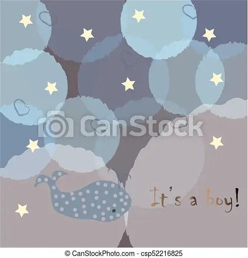 Baby boy birth announcement baby shower invitation card vector